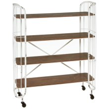 Distressed White Four Tier Shelf on Wheels