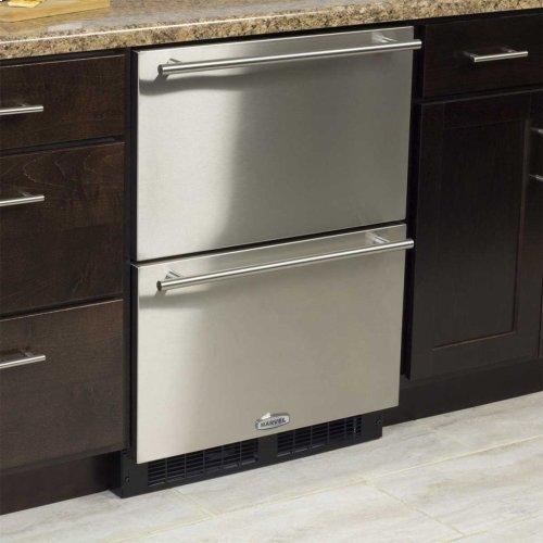 "Marvel 24"" Refrigerated Drawers - Solid Black Drawer Front, Stainless Steel Designer Handles"