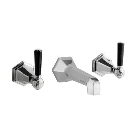 Waldorf Black Lever Wall Mounted Widespread Lavatory Faucet Trim - Polished Nickel
