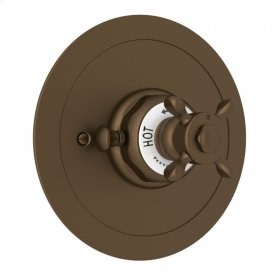 English Bronze Perrin & Rowe Edwardian Era Round Thermostatic Trim Plate Without Volume Control with Edwardian Cross Handle