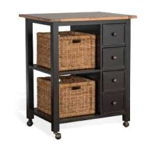 Kitchen Island w/ Baskets & Casters