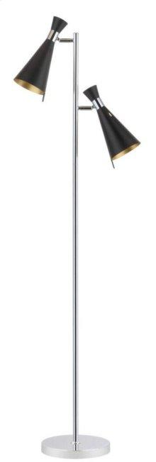 Efisio Floor Lamp - Chrome Shade Color: Black / gold leaf