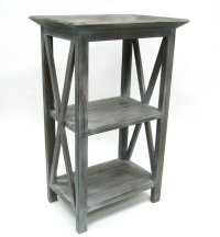 Wood End Table with 2 Shelves-Grey-20x14x33 Product Image
