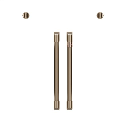 Café 2 French-Door Handles; 2 Knobs - Brushed Bronze
