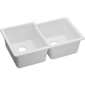 "Elkay Quartz Classic 33"" x 20-1/2"" x 9-1/2"", Offset Double Bowl Undermount Sink, White"