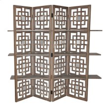 Spring Creek Driftwood and Mirror Screen w/ 3 Shelves
