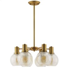 Resound Amber Glass And Brass Pendant Chandelier