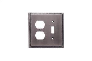 Single Toggle/Single Duplex Arlington Switch Plate - Matte Pewter