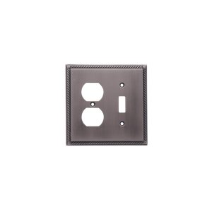 Single Toggle/Single Duplex Arlington Switch Plate - Matte Pewter
