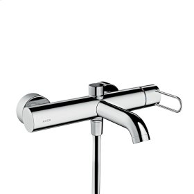 Brushed Brass Single lever bath mixer for exposed installation with loop handle