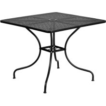 35.5'' Square Black Indoor-Outdoor Steel Patio Table