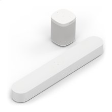 White- Immersive sound for TV, movies, and music in two rooms. Easy set up and future-ready voice control.