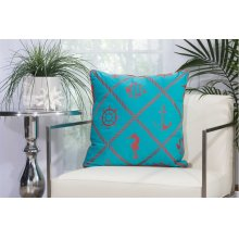 "Outdoor Pillow L1504 Turquoise/coral 20"" X 20"" Throw Pillow"
