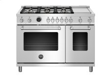"48"" Master Series range - Electric self clean oven - 6 brass burners + griddle"