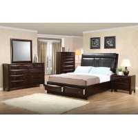 Phoenix Cappuccino Upholstered King Five-piece Bedroom Set Product Image