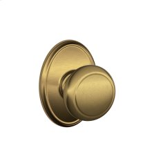 Andover Knob with Wakefield trim Hall & Closet Lock - Antique Brass