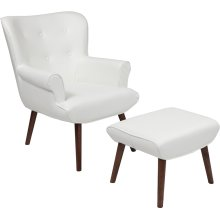 Bayton Upholstered Wingback Chair with Ottoman in White Leather