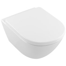 Wall-mounted toilet with rimless flushing (DirectFlush) Oval - White Alpin