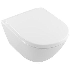 Wall-mounted toilet with rimless flushing (DirectFlush) Oval - White Alpin CeramicPlus