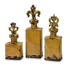 Canary Bottles with Finials - Set of 3