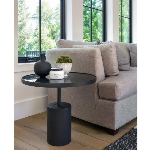 Samara KD End Table Glass Top with Black Concrete Base, Mirror Black