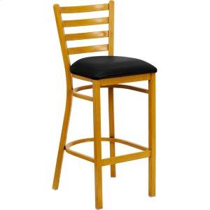 HERCULES Series Natural Woodgrain Ladder Back Metal Restaurant Bar Stool with Black Vinyl Seat