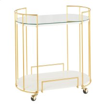 Canary Bar Cart - Gold Metal, White Marble, Mirror
