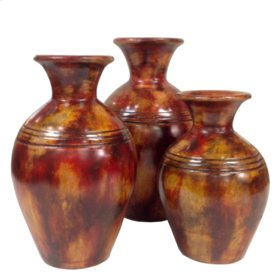 Burnt Red Finish Small Jugs ( (Set of 3)