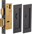 Pocket Door Lock with Modern Rectangular Trim featuring Turnpiece and Emergency Release in (US10B Oil-Rubbed Bronze, Lacquered) Product Image