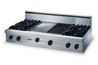 """Eggplant 48"""" Open Burner Rangetop - VGRT (48"""" wide rangetop with four burners, 12"""" wide griddle/simmer plate, 12"""" wide char-grill)"""