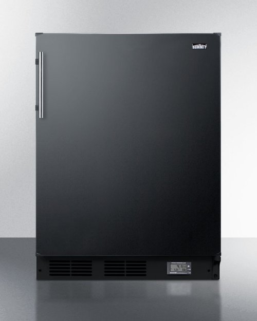 Built-in Undercounter ADA Compliant Break Room Refrigerator-freezer In Black With Nist Calibrated Thermometer and Alarm