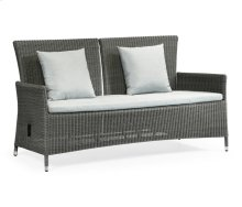 "70"" Grey Wicker Rattan Two-Seat Sofa with Reclining Back, Upholstered in COM"