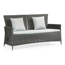 """70"""" Grey Wicker Rattan Two-Seat Sofa with Reclining Back, Upholstered in COM"""