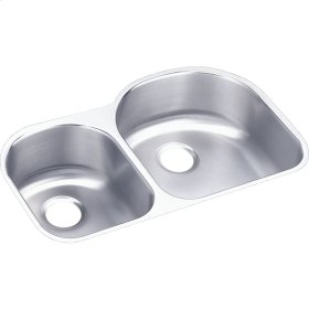 """Elkay Lustertone Classic Stainless Steel 31-1/4"""" x 20"""" x 7-1/2"""", Offset 40/60 Double Bowl Undermount Sink"""