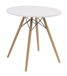 "Complete Table-round White Top 27.5""&WOOD Legs-metal Struts Rta"