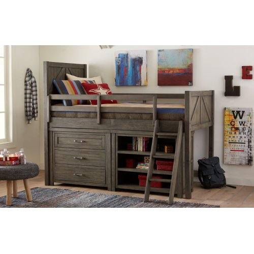 Bunkhouse Mid Loft Bed, Twin 3/3 w/ Components