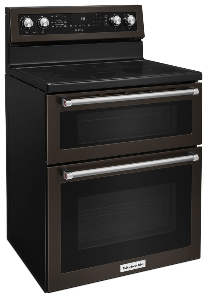 Hidden · Additional 30 Inch 5 Burner Electric Double Oven Convection Range    Black Stainless Hidden. KitchenAid Logo