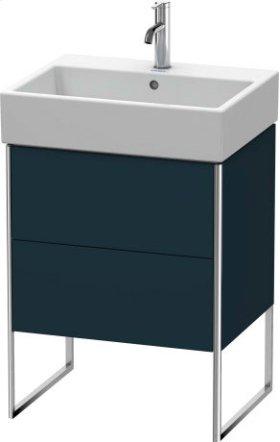 Vanity Unit Floorstanding, Night Blue Satin Matt Lacquer