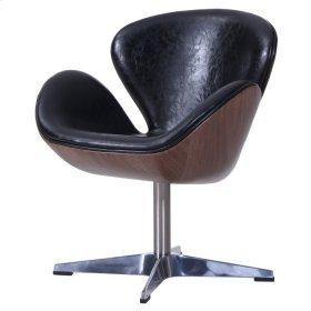 Clayton PU Swivel Chair Dark Walnut Frame, Dakota Black