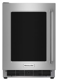 """24"""" Undercounter Refrigerator with Glass Door and Metal Trim Shelves - Stainless Steel"""