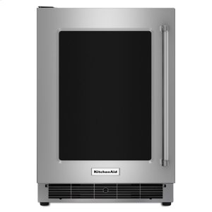 "KitchenAid24"" Undercounter Refrigerator with Glass Door and Metal Trim Shelves - Stainless Steel"