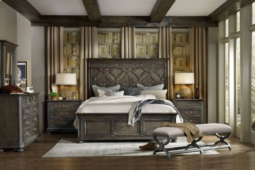 Vintage West King Wood Panel Bed