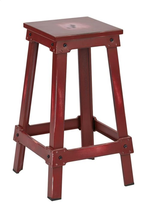 """New Castle 26"""" Antique Red Metal Barstool, Kd"""