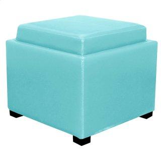 Cameron Square Leather Storage Ottoman w/ tray, Blue