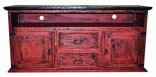 2 Door 2 Drawer TV Stand Red Scraped
