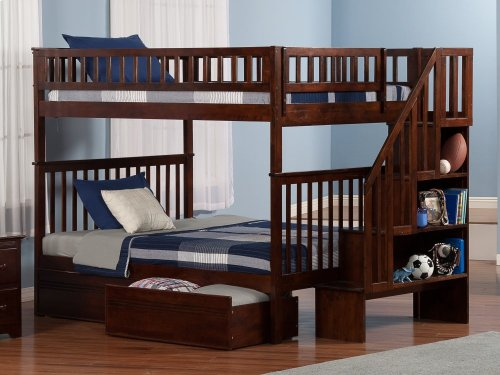 Woodland Staircase Bunk Bed Full over Full with Flat Panel Bed Drawers in Walnut