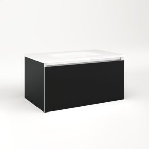 """Cartesian 30-1/8"""" X 15"""" X 18-3/4"""" Single Drawer Vanity In Matte Black With Slow-close Plumbing Drawer and Night Light In 5000k Temperature (cool Light)"""