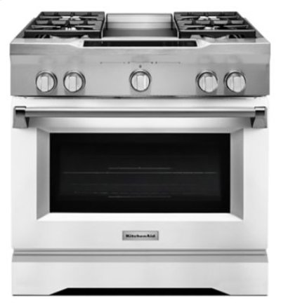 36'' 4-Burner with Griddle, Dual Fuel Freestanding Range, Commercial-Style - Imperial White Product Image