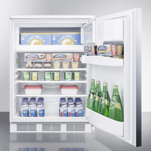 Built-in Undercounter Refrigerator-freezer for General Purpose Use, With Dual Evaporator Cooling, Ss Door, Lock, Horizontal Handle and White Cabinet