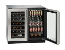 """Modular 3000 Series 36"""" Beverage Center With Stainless Frame Finish and Double Doors Door Swing"""